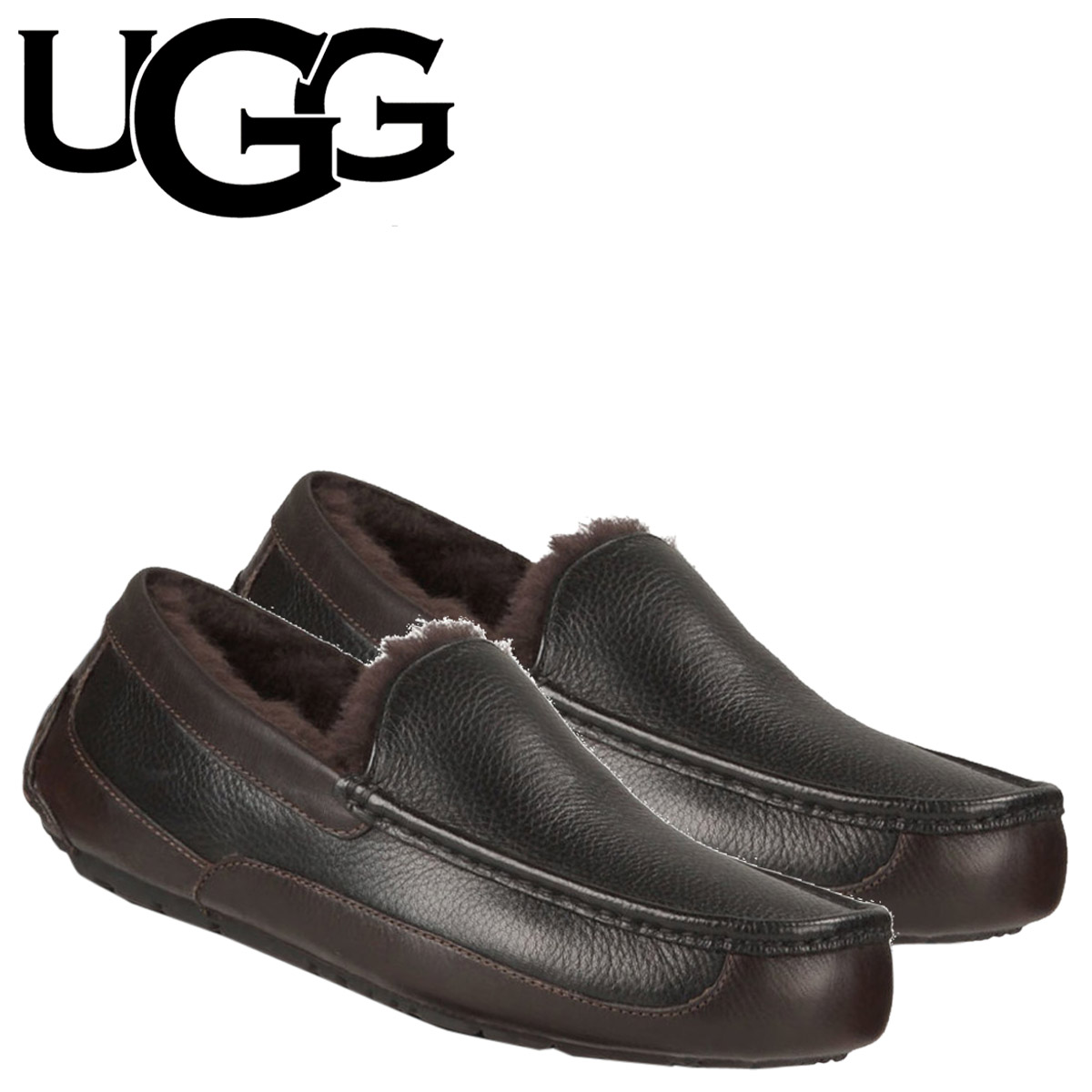 UGG UGG men's Ascot leather shoes MENS ASCOT LEATHER Shearling leather 2015 new 1005229 black China tea [1 / 22 new in stock] [regular]