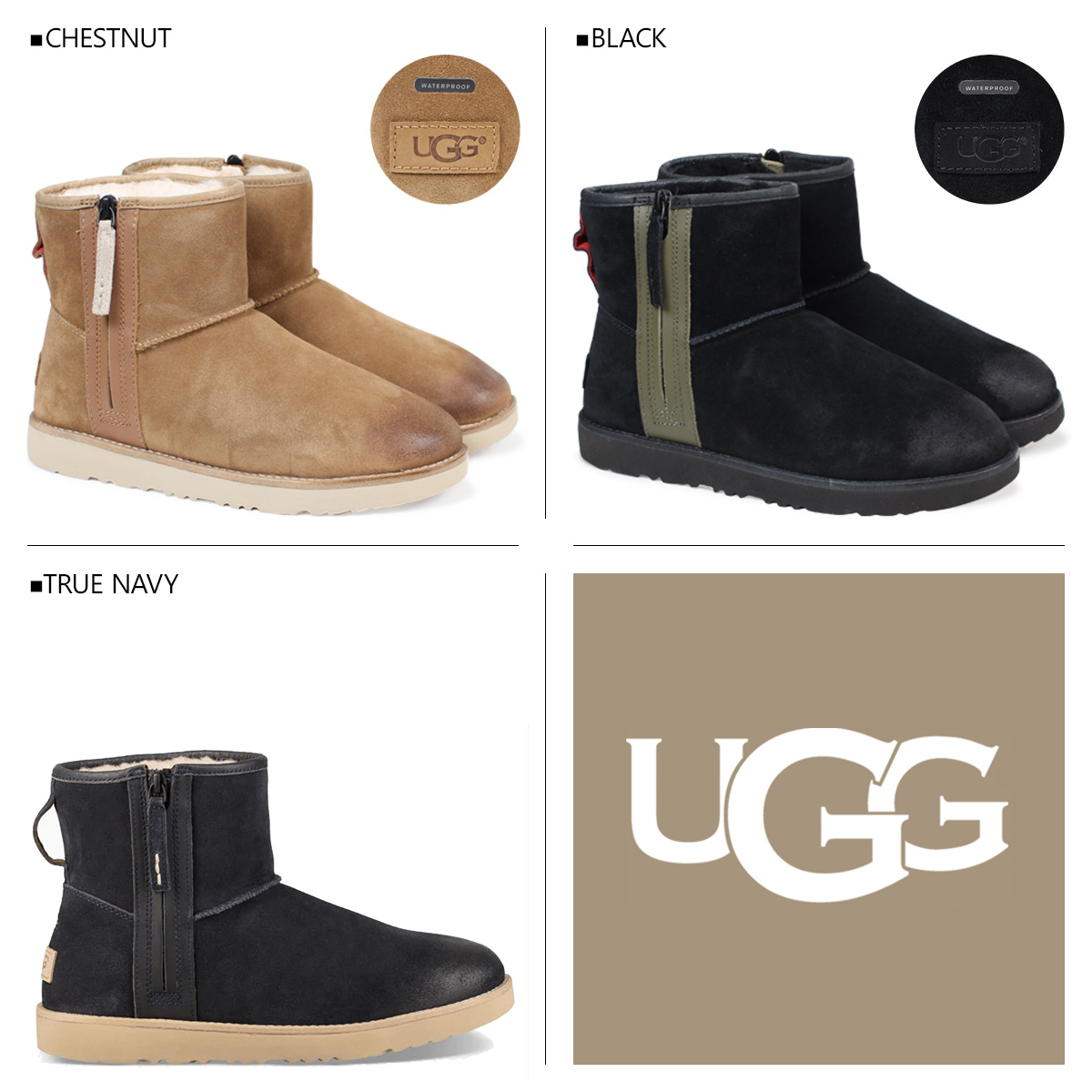 Allsports Ugg Mens Classic Mini Zip Waterproof アグクラシックミニ