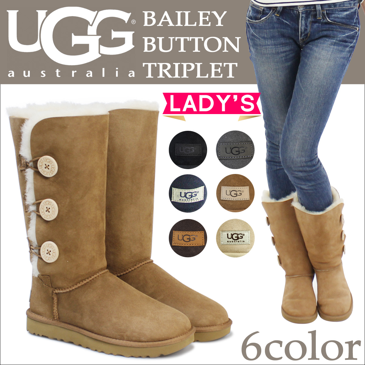 6 color UGG UGG women's Bailey button triplet boots WOMENS BAILEY BUTTON TRIPLET Sheepskin ladies Sheepskin boots 1873 [genuine]