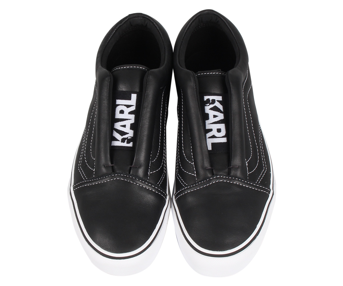 VANS OLD SKOOL LACELESS PLATFORM LAGERFELD vans old school sneakers slip ons men gap Dis station wagons thickness bottom collaboration black black