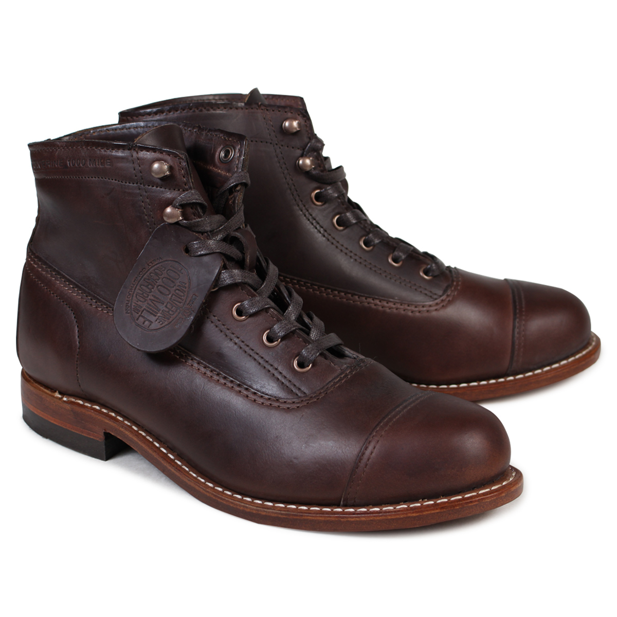 91f4960f312 WOLVERINE Wolverene 1,000 miles boots ROCKFORD 1000 MILE CAP-TOE BOOT D  Wise W05293 brown work boots men [172]