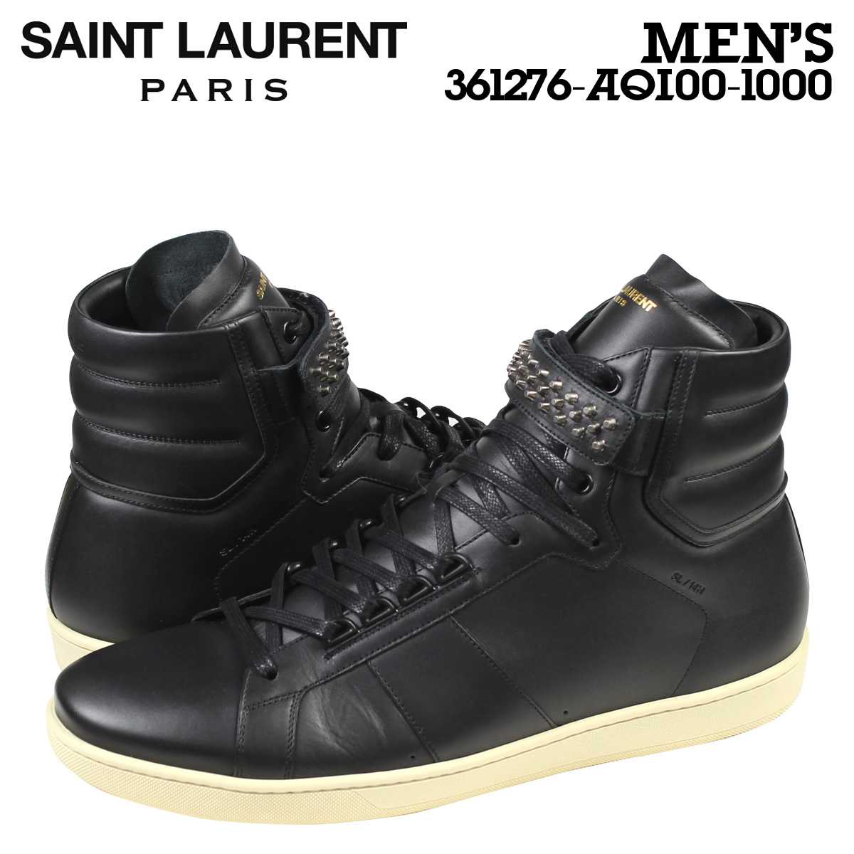 6e936a190a Laurent Saint Laurent men's SL14H SIGNATURE COURT CLASSIC HI TOP SNEAKER  sneakers signature coat classic Hi-Top 361276 black [11 / 4 new in stock]