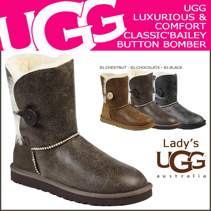 4 color UGG UGG women's Bailey button bomber boots 5838 WOMENS BAILEY BUTTON BOMBER Womens 2014 new Sheepskin [regular]