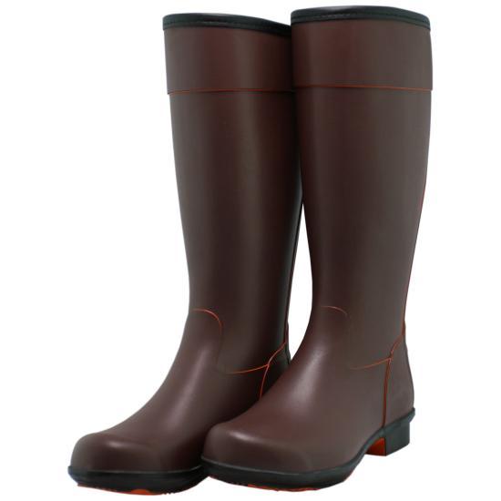 【アウトレット30%オフ】Coral(コーラル)レインブーツ長靴 ブラウン/オレンジ 18mmヒール