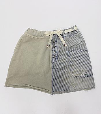 【エフィレボル/.efilevol】Marine Hickory×Sweat Skirt マリンヒッコリー×スウェットスカート【送料無料】