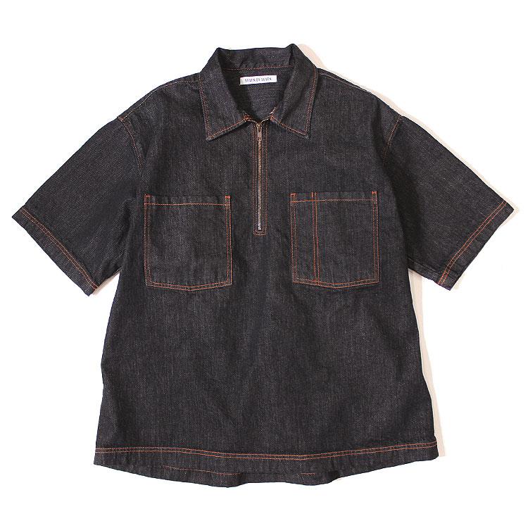 【s20】【セブンバイセブン/7×7】UNI HALF ZIP SHIRT(ユニハーフジップシャツ)[black][800-9150073]【送料無料】【キャンセル返品交換不可】【let】【m100】