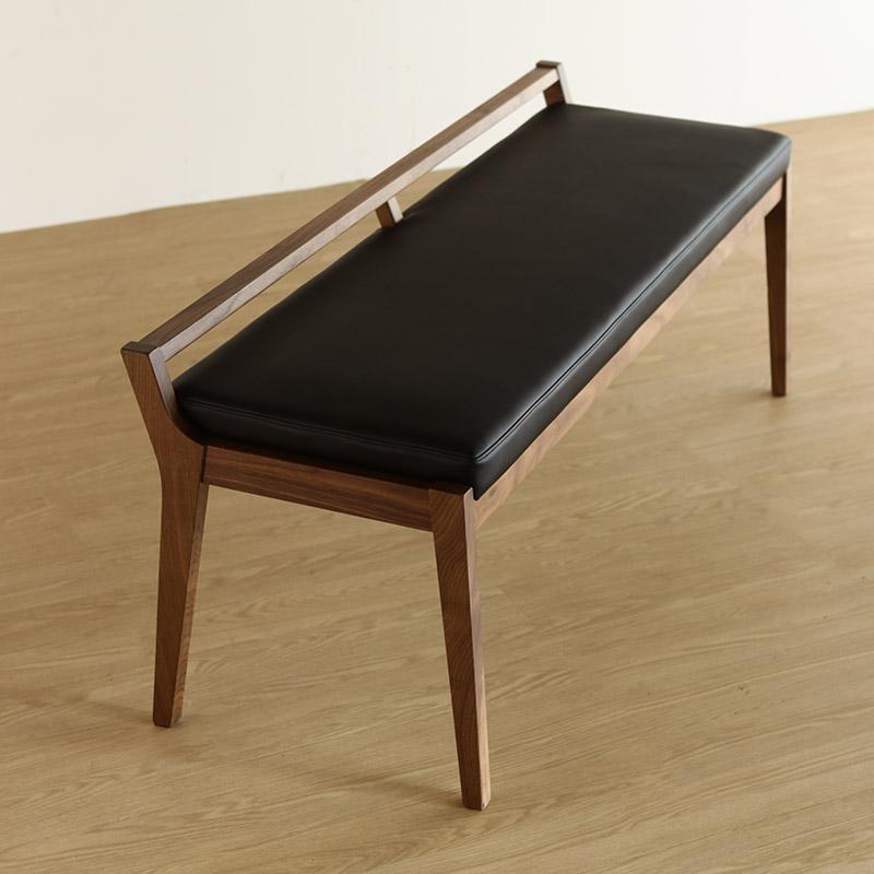 [ibiza] ベンチ (張地ランク3) 肘有 AJIM 食卓椅子 天然木 ウォールナット ホワイトアッシュ センダン 無垢材 日本製 国産 北欧テイスト 【送料無料】