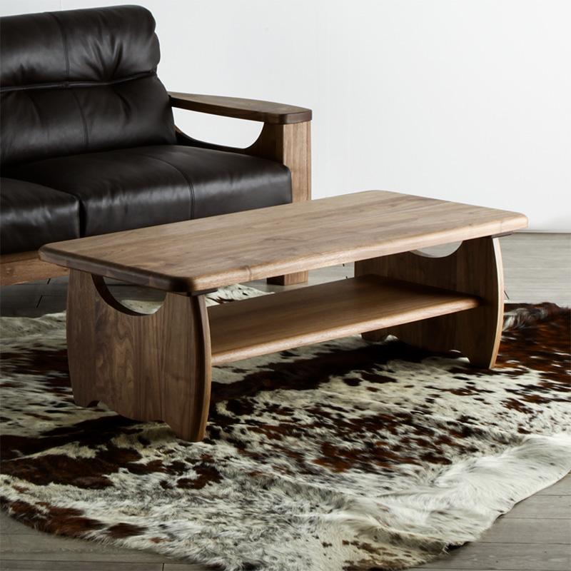 センターテーブル 120cm ウォールナット リビングテーブル コーヒーテーブル ローテーブル 天然 木製 高級 角丸 送料無料 シンプル 北欧 オフィス モダン 無垢 大川家具 野中木工所 国産 dino