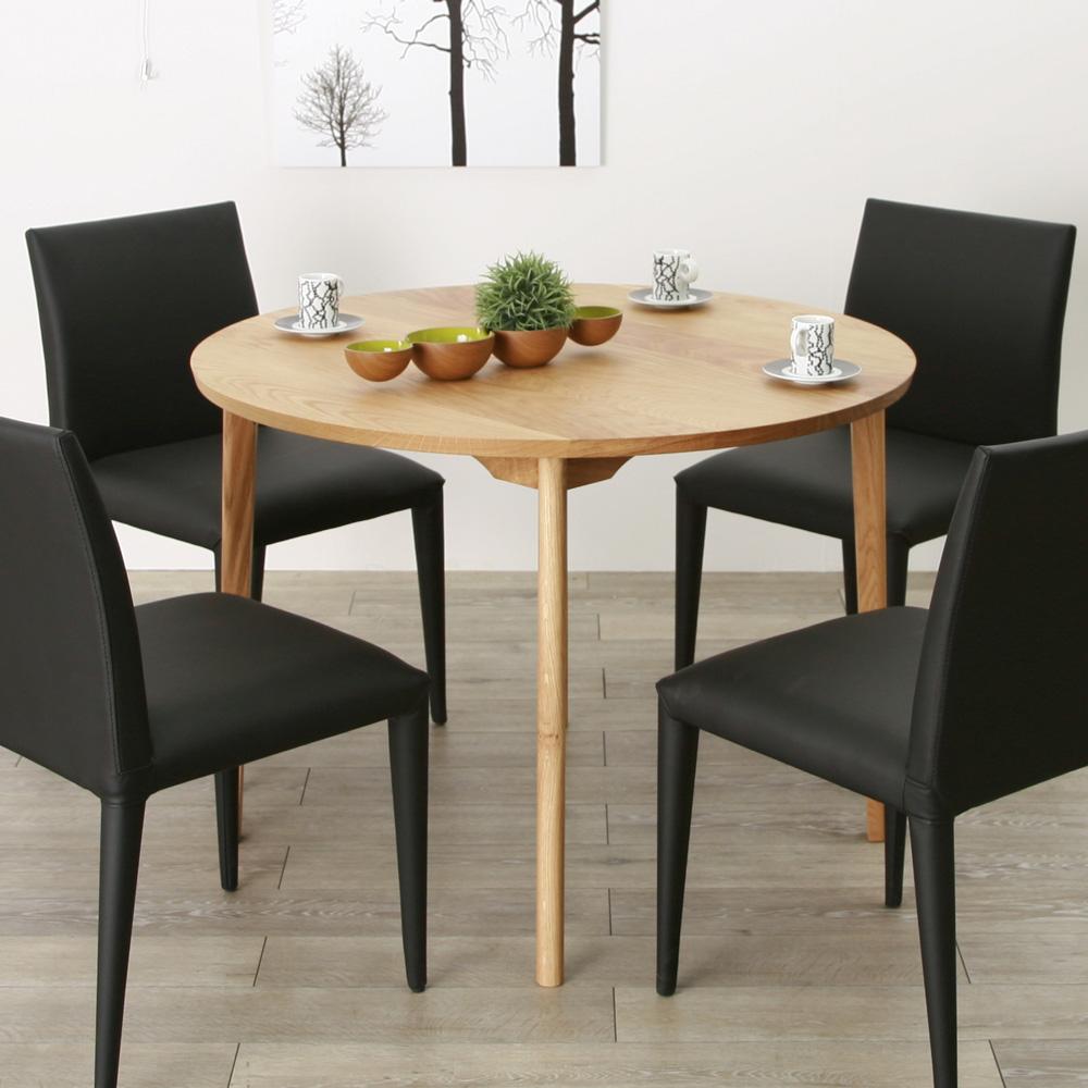 ダイニングテーブル 丸テーブル 100 オーク 円形テーブル 食卓テーブル 天然 木製 送料無料 北欧 オフィス 大川家具 野中木工所 国産 refline