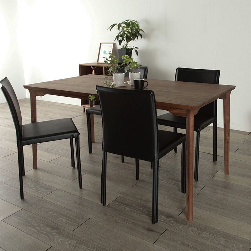 ダイニングテーブル 150 ウォールナット 食卓テーブル ハイテーブル 天然 木製 送料無料 シンプル 北欧 無垢 大川家具 野中木工所 国産 高級 [refline / レフライン]