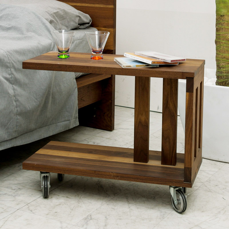Side Table Wooden North European Caster Walnut 60cm Console Table Cocktail Table Bed Order High Quality Shin Pull Finished Product Pure Wedding