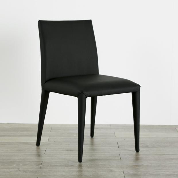 (nol-141727) 肘無しダイニングチェア レザーチェア ブラック 送料無料 ミッドセンチュリー 北欧テイスト 食卓椅子 黒 ブラック