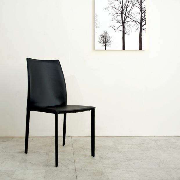 (nol-141721-dc) ダイニングチェア ブラック 送料無料 ミッドセンチュリー 北欧テイスト 食卓椅子 黒 リサイクルレザー