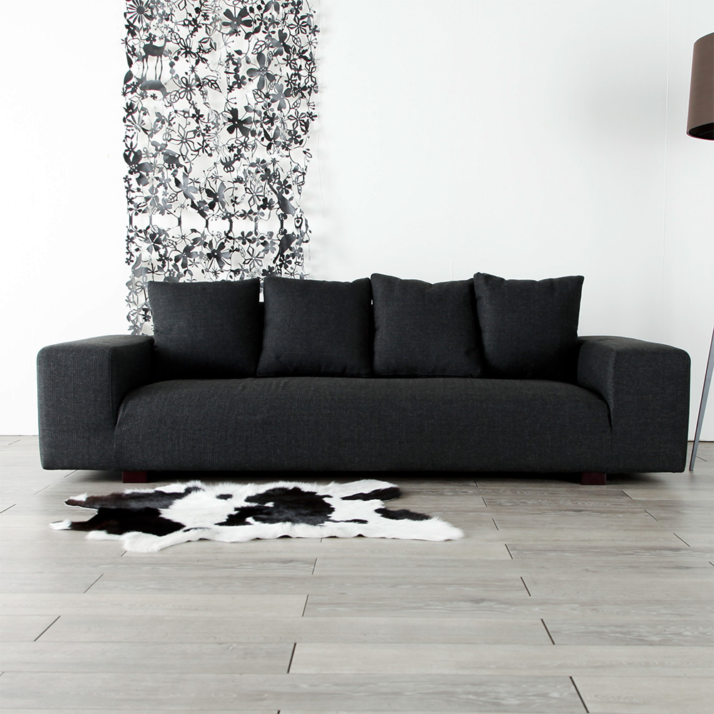 [musuta] Three 3P Sofa Credit Low Sofa Fabric Piece Of Cloth Type Dark Gray  Color North Europe Taste Shin Pull Modern Casual Basic