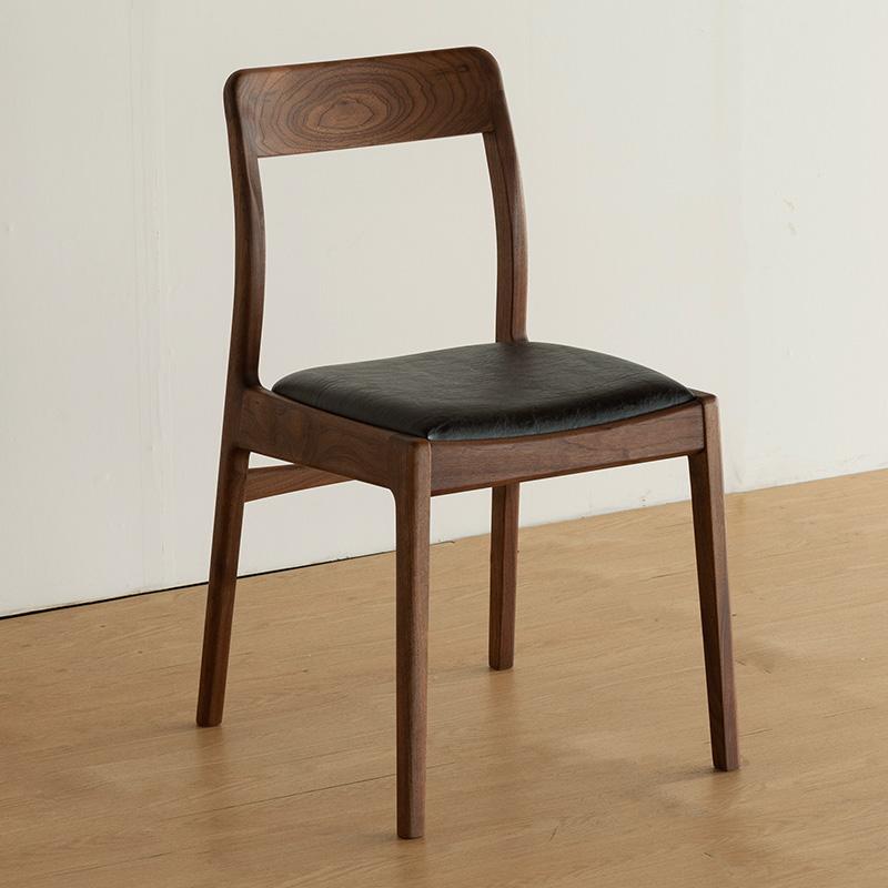 ダイニングチェア 肘付き 無垢 北欧 木製 おしゃれ ウォールナット/ブラックチェリー 国産 高級 天然木 セミアームチェア チェア 椅子 おすすめ [pita nol-221612-armless]