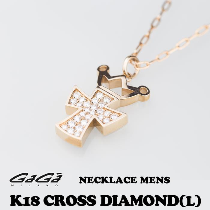 GaGa MILANO/ガガミラノ K18 CROWN-CROSS DIAMOND NECKLACE(L)/K18 クラウンクロス ダイヤモンド ネックレス(L) メンズ 国内正規品 正規販売店 送料無料 新品・未使用