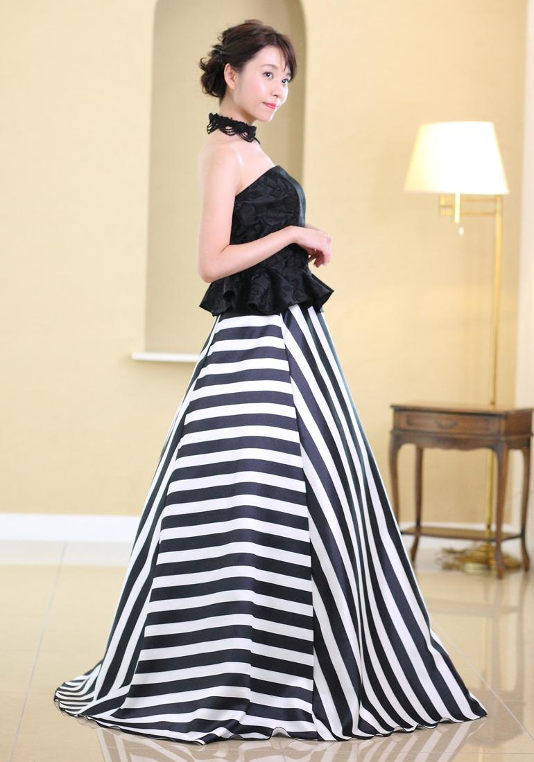 ロングスカート ストライプ スカート(sk3103)黒 白 ステージ衣装 演奏会 ピアノ 声楽 カラオケ 発表会に♪演奏会用スカート レディース セパレートドレス 大きいサイズ