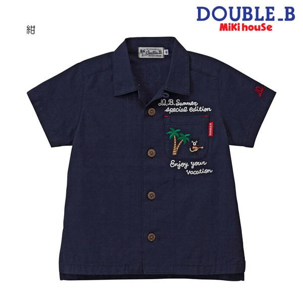 ダブルB(ミキハウス) Double B by MIKIHOUSE 刺繍使い半袖オープンカラーシャツ【キッズ】【送料無料】