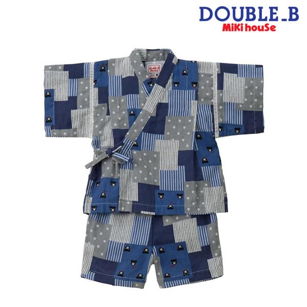 【ポイント20倍(スーパーSALE期間中限定)】ダブルB(ミキハウス) Double B by MIKIHOUSE パッチワーク柄甚平スーツ【日本製】【キッズ】MH20
