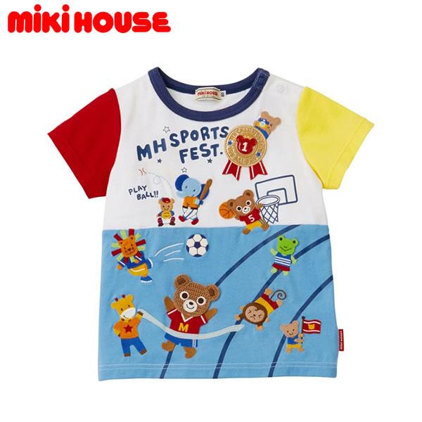 【ポイント20倍(スーパーSALE期間中限定)】ミキハウス MIKIHOUSE 刺繍とワッペン半袖Tシャツ【日本製】【キッズ】【ベビー】MH20