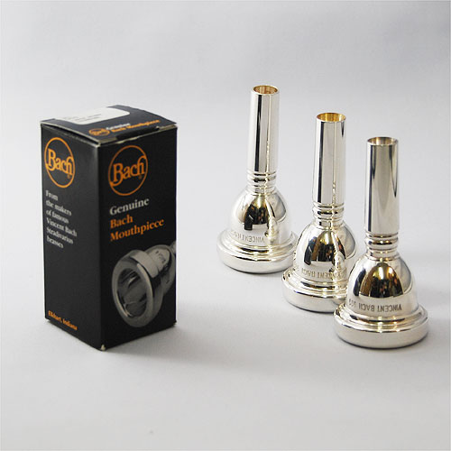 BACH : TROMBONE 安心の定価販売 MOUTHPIECE LARGE 新作 大人気 SHANK 太管トロンボーンマウスピース #4~6 : 銀メッキ バック