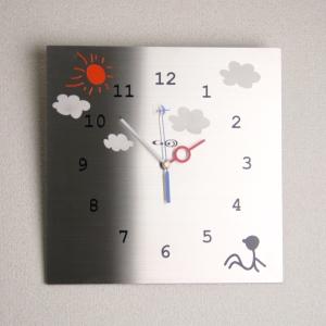 掛け時計【送料無料】GHOステンレス掛け時計「のんびり屋」【楽ギフ_名入れ】【楽ギフ_のし】掛時計 おしゃれ【10P20Oct14】