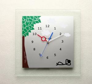掛け時計ガラス 掛時計 おしゃれ かわいい 名入れ 送料無料 【楽ギフ_名入れ】【楽ギフ_のし】【10P20Oct14】<br>のんびり屋 オリジナル時計AG01シリーズ