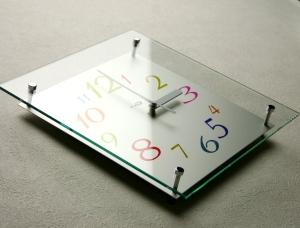 掛け時計ガラス 名入れ 掛時計 おしゃれ かわいい 送料無料 【楽ギフ_のし】GHOオリジナルデザイン掛け時計SW-280II「レインボー」【10P01Nov14】