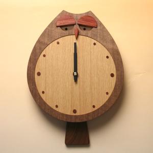掛け時計【送料無料メッセージ料込み】フクロック木製 掛け時計 掛時計 おしゃれ【10P20Oct14】