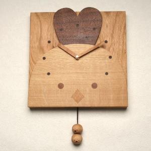 【あす楽対応】【木の時計】GHO無垢時計「にわとり親子」【楽ギフ_のし】名入れ