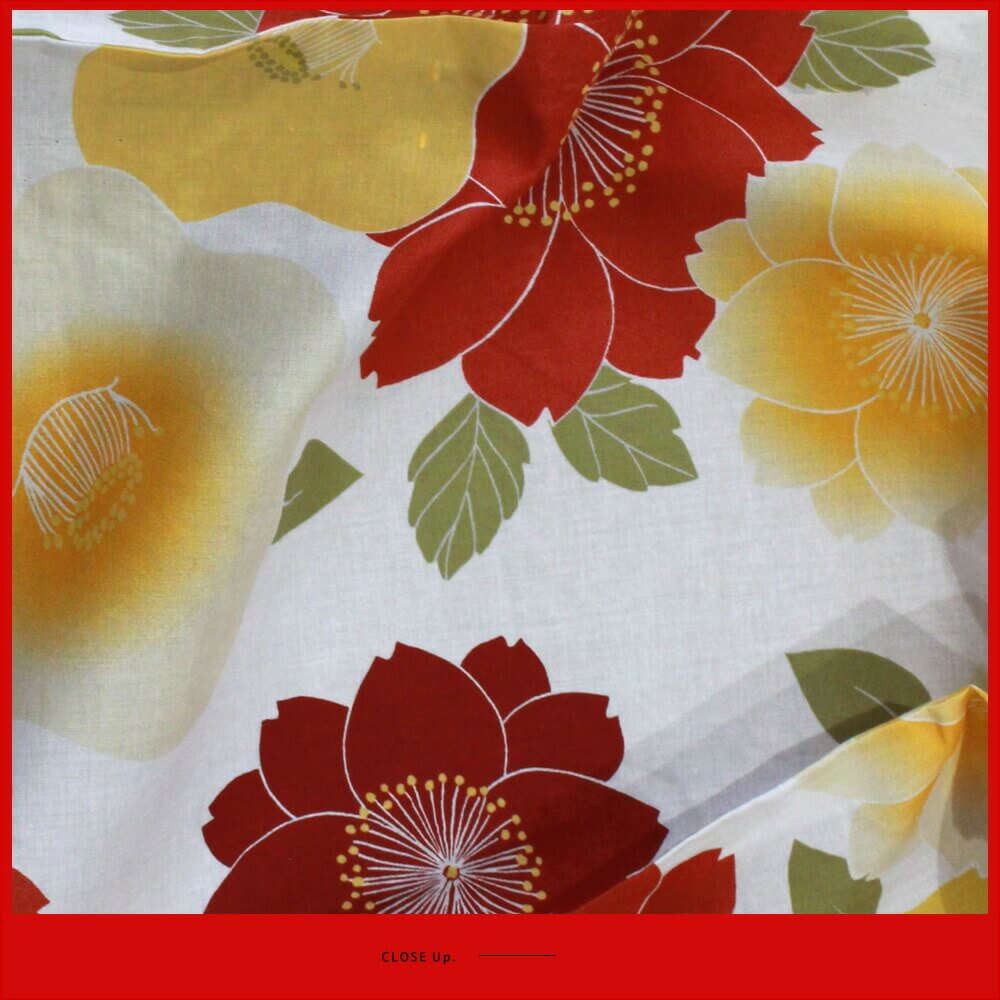 Nonoc Free White Red Yellow Floral Design Cloth Of White