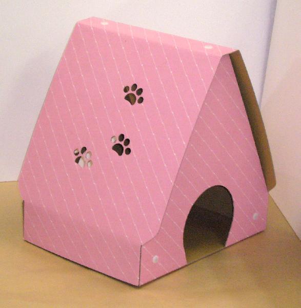 セール価格 猫 安全 ハウス ネコ 家 ピンク完成品サイズ:間口38cm×奥行30cm×高さ40cm ダンボール製爪とぎキャットハウス またたび