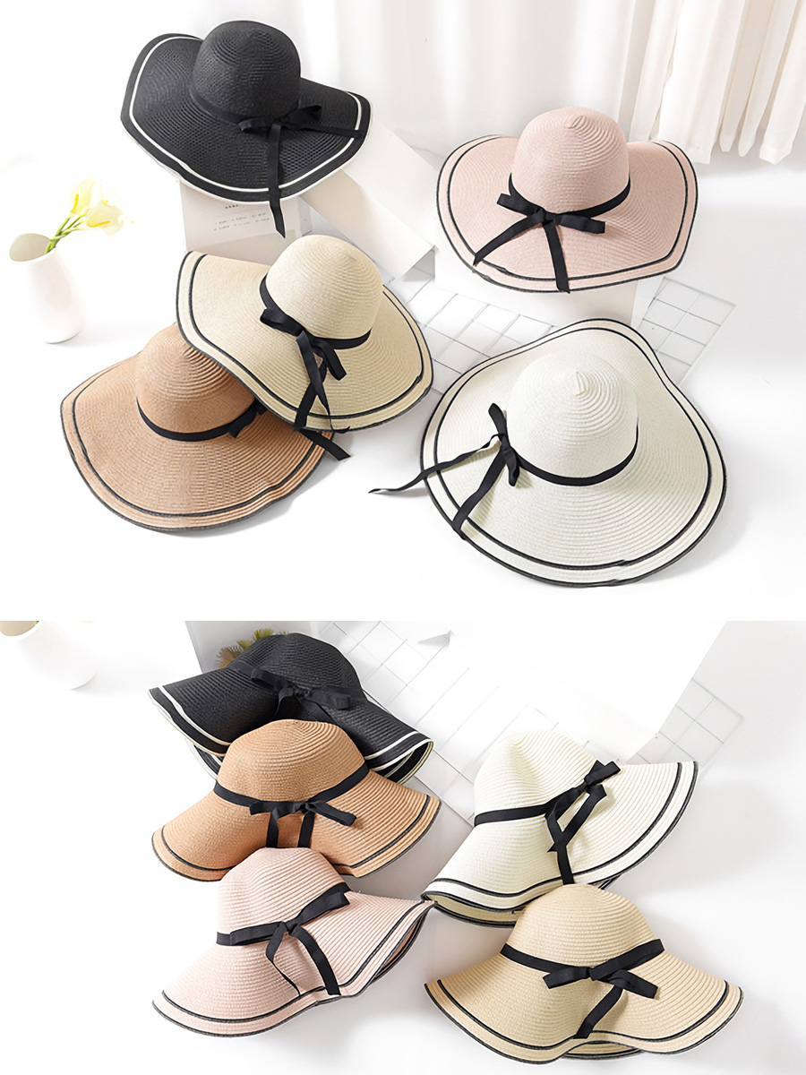 Trip to size small face effect awning hat that a folding broad-brimmed  actress hat Lady's straw hat hat hat straw hat raffia hat natural big