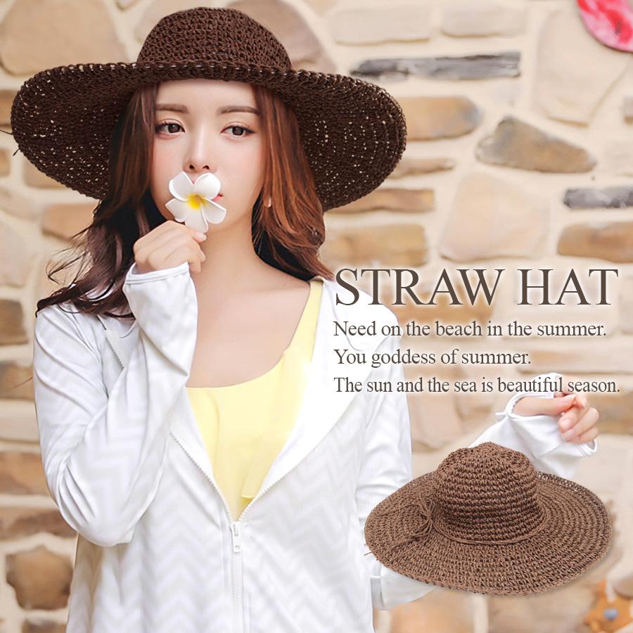 【即納】 つば広 麦わら帽子 レディース 麦わら帽子 帽子 ハット ストローハット ラフィアハット ナチュラル 大きい つば広ハット つば広帽子 紫外線対策 UVケア 日よけ 女性 夏 新作 農作業 野良仕事