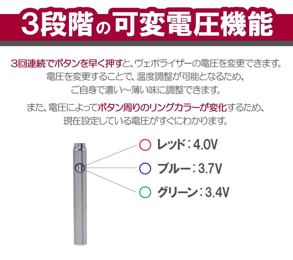 Variable voltage electron cigarette ベイプ VAPE VariableVolt for the CBD  liquid with the USB battery charger with the pen type ヴェポライザー 350VV  atomizer for