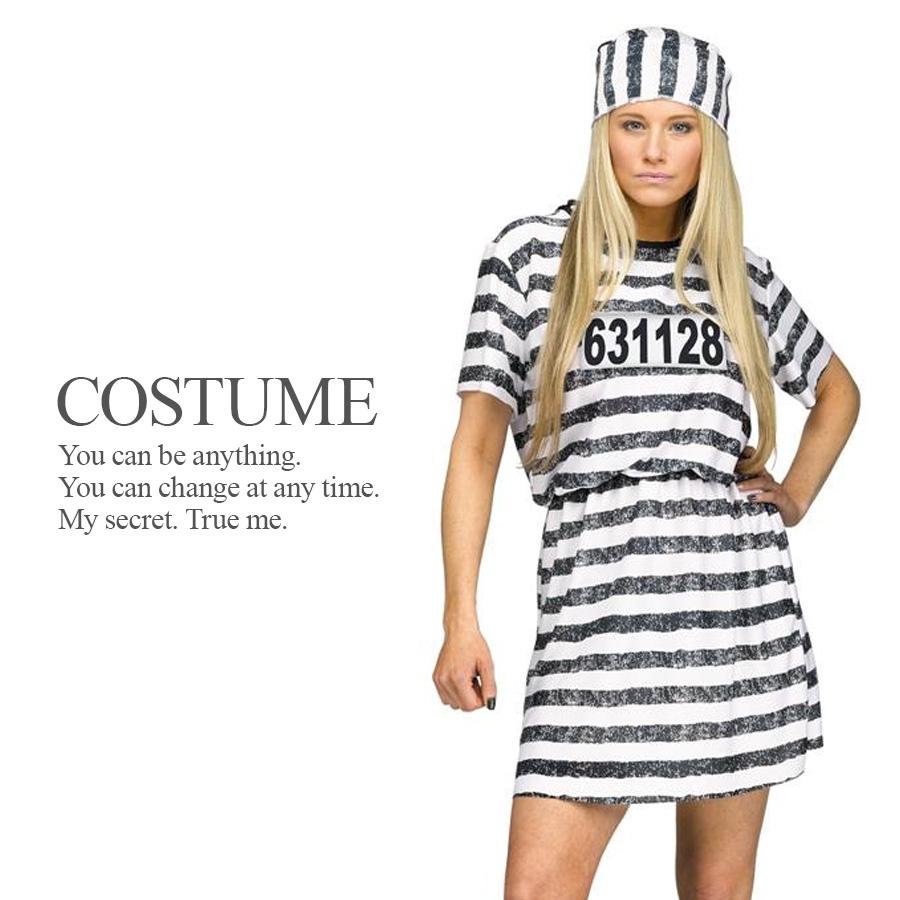 【即納】 囚人服ワンピース 2点セット 監獄 プリズン 女囚 囚人 仮装 レディース セクシー ハロウィン コスプレ 衣装 コスチューム 【FUN WORLD】