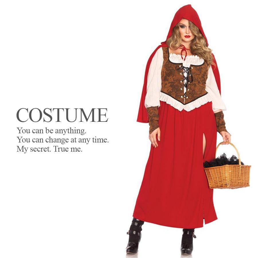 大きめサイズ 森の赤ずきんちゃん 3点セット ハロウィン コスプレ 衣装 コスチューム 【Leg Avenue レッグアベニュー LG-85376X】