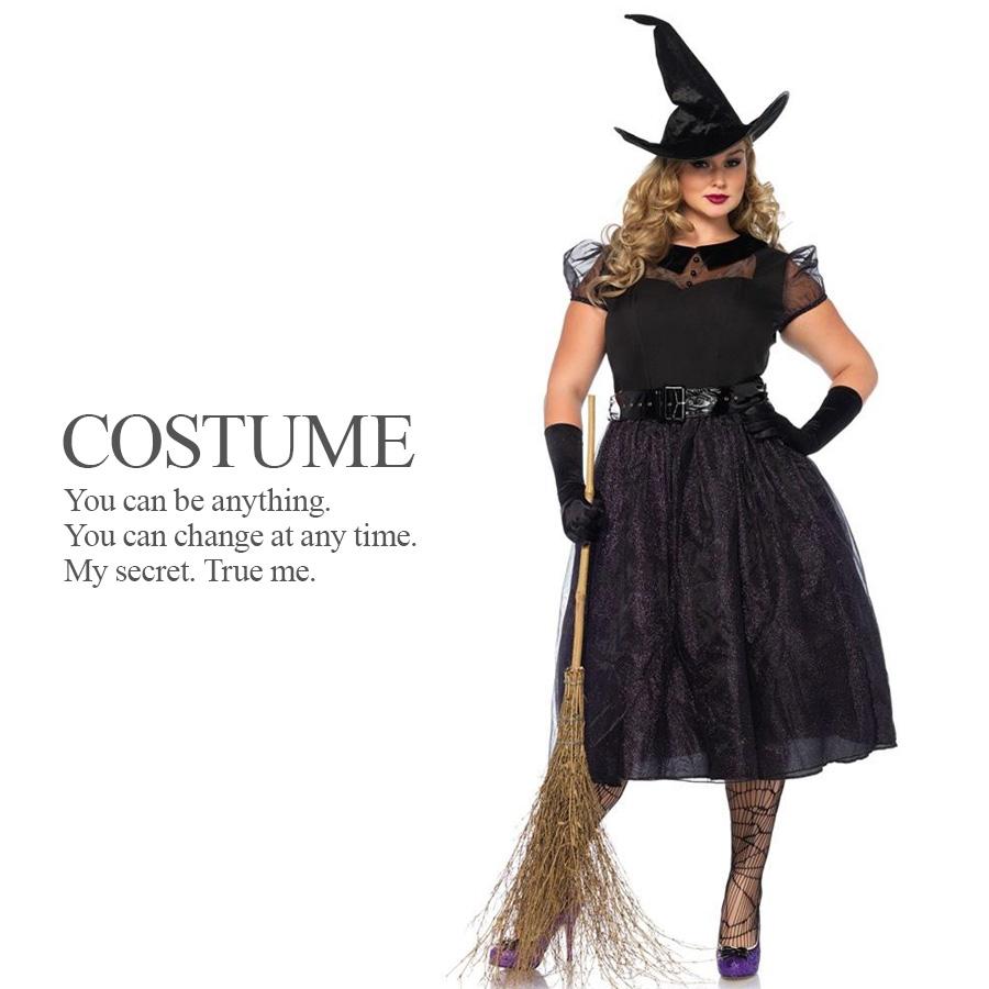 【送料無料】 【即納】 大きめサイズ 黒いドレスの魔女 3点セット 魔女 ウィッチ プラスサイズ 大きいサイズ ハロウィン コスプレ 衣装 コスチューム 【Leg Avenue レッグアベニュー LG-85529X】