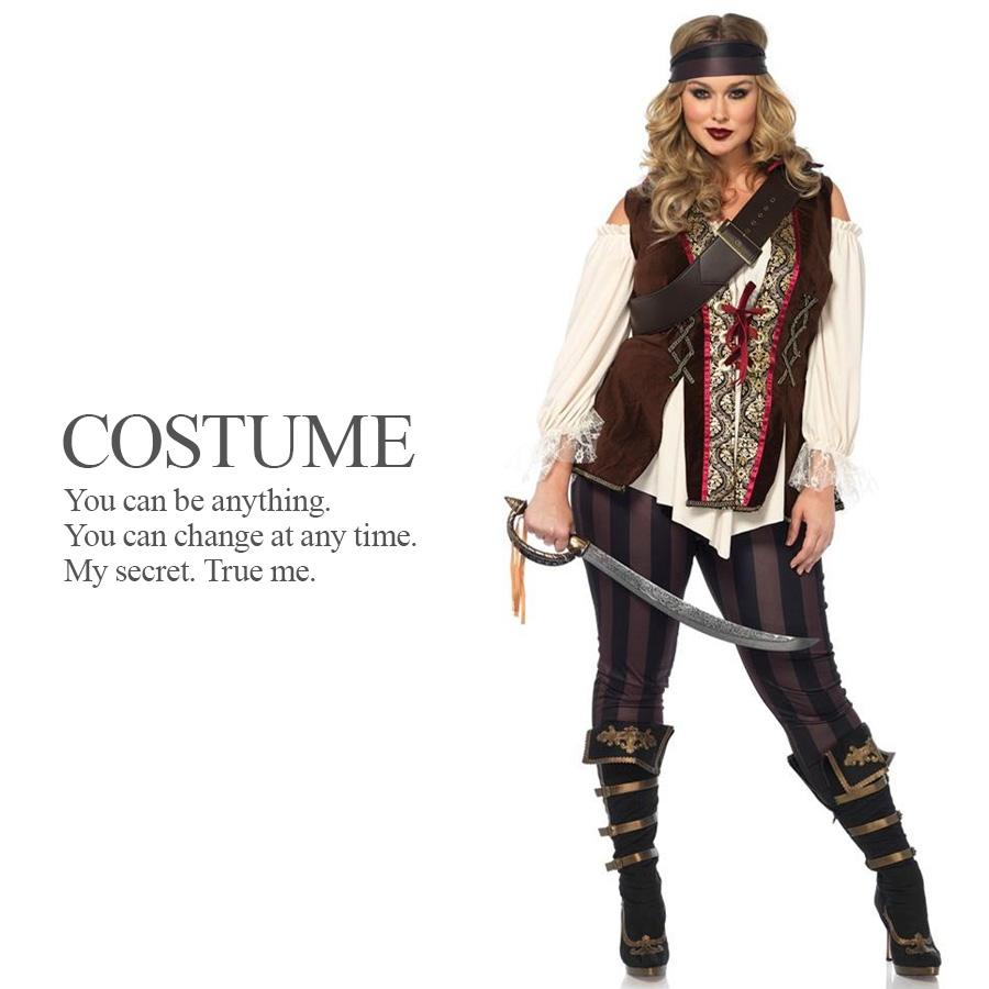 大きめサイズ ブラックパイレーツ 4点セット 海賊 プラスサイズ 大きいサイズ ハロウィン コスプレ 衣装 コスチューム 【Leg Avenue レッグアベニュー LG-85634X】