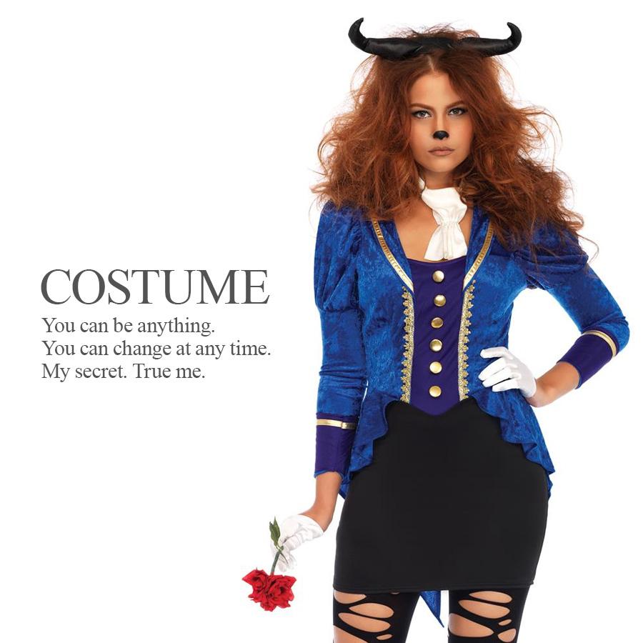 86687 French The Beast Leg Avenue Blue Velvet Adult Frock Coat