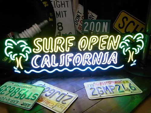【サイズを選べるネオン管】 サーフオープン ヤシの木 電飾 電光掲示板 照明 インテリア 看板 アメリカン雑貨 ネオンサイン ネオン管