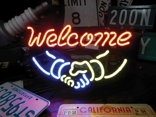 【サイズを選べるネオン管】ネオンサイン Welcomeサイン(電飾 電光掲示板 照明 インテリア 看板 アメリカン雑貨)