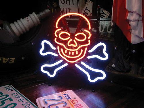 【サイズを選べるネオン管】ネオンサイン スカルボーン(電飾 電光掲示板 照明 インテリア 看板 アメリカン雑貨)