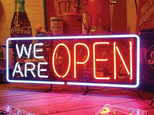【サイズを選べるネオン管】 WE ARE OPEN 電飾 電光掲示板 照明 インテリア 看板 アメリカン雑貨 ネオンサイン ネオン管