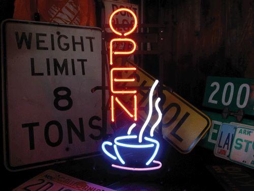 【ネオン管】 cafe カフェオープン 76x25cm 電飾 電光掲示板 照明 インテリア 看板 アメリカン雑貨 ネオンサイン ネオン管
