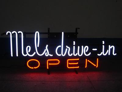 【サイズを選べるネオン管】ネオンサイン Mel's drive-in OPEN(電飾 電光掲示板 照明 インテリア 看板 アメリカン雑貨)