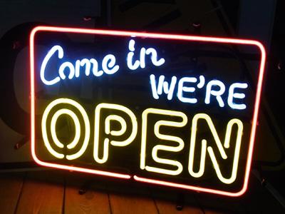 【サイズを選べるネオン管】 Come in WE'RE OPEN 電飾 電光掲示板 照明 インテリア 看板 アメリカン雑貨 ネオンサイン ネオン管