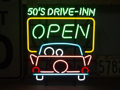【サイズを選べるネオン管】 50'S DRIVE-INN OPEN 50's ドライブイン 電飾 電光掲示板 照明 インテリア 看板 アメリカン雑貨 ネオンサイン ネオン管