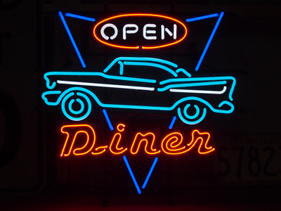 【サイズを選べるネオン管】 DINER OPEN ダイナーオープン 電飾 電光掲示板 照明 インテリア 看板 アメリカン雑貨 ネオンサイン ネオン管