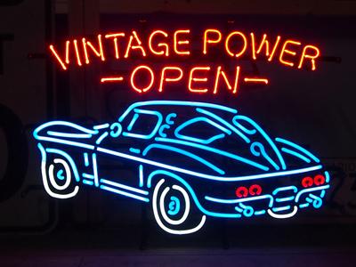 【サイズを選べるネオン管】ネオンサイン 【VINTAGE POWER -OPEN-】ヴィンテージパワーオープン(電飾 電光掲示板 照明 インテリア 看板 アメリカン雑貨)